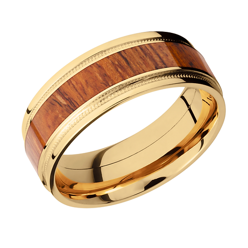 14K yellow gold mens wedding band with millgrain details and desert ironwood wood inlay. Hardwood ring. Exotic wood ring.