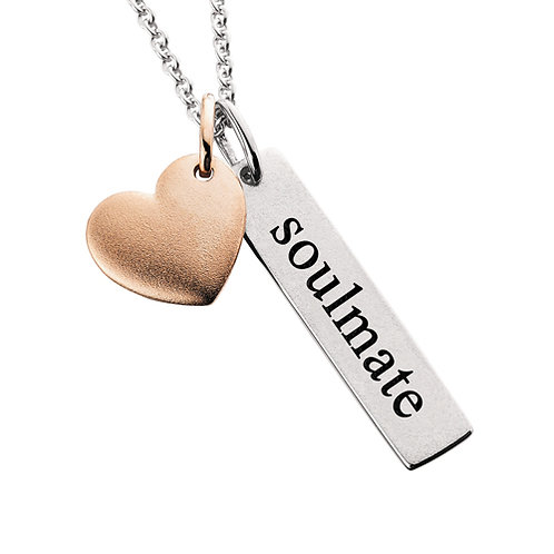 """Sterling silver with """"soulmate"""" tag and rose gold plated heart. Soul mate pendant. Soul mate necklace. Soulmate necklace."""