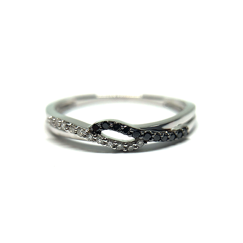 14K white gold diamond band. Black and white diamond band. Diamond right hand ring. Black diamond promise ring. Petite band.