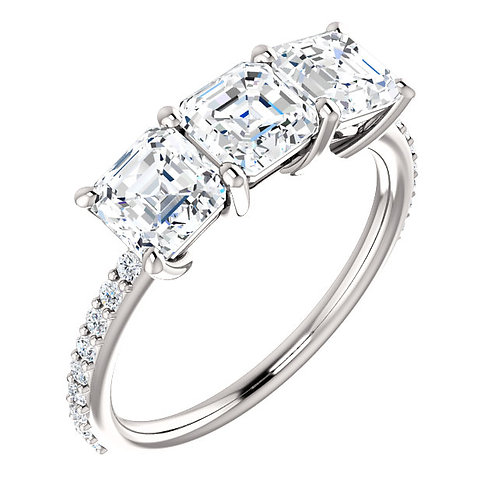 14K white gold diamond engagement ring with three center stones. 3-stone engagement ring. 3-stone anniversary ring. Three.