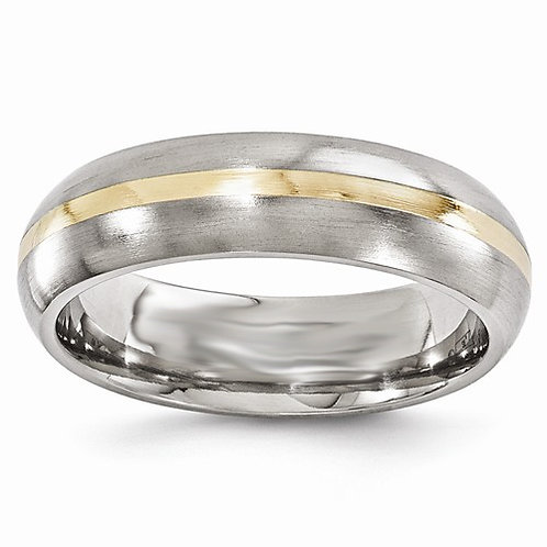 Men's titanium and 14K yellow gold wedding band. Men's satin wedding band. Men's satin titanium wedding band. Men's wedding r