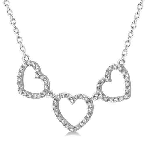 10K White Gold and 15cttw Diamond Triple Heart Necklace Jewelry