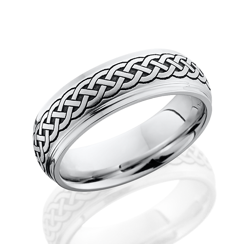 Cobalt Chrome men's wedding band with laser etched Celtic pattern. Celtic weave men's wedding band. Men's ring. Men's band.