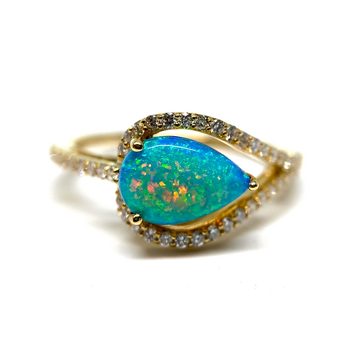 14K yellow gold diamond and Australian opal ring with pearl shaped blue opal and white diamonds. Yellow gold. Diamond ring.