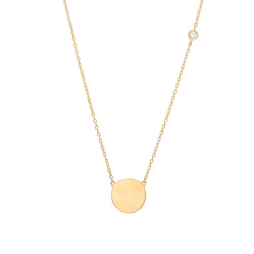 14K yellow gold disc pendant necklace with round bezel set accent diamond on chain. Circle pendant. Disc with bezel accent.
