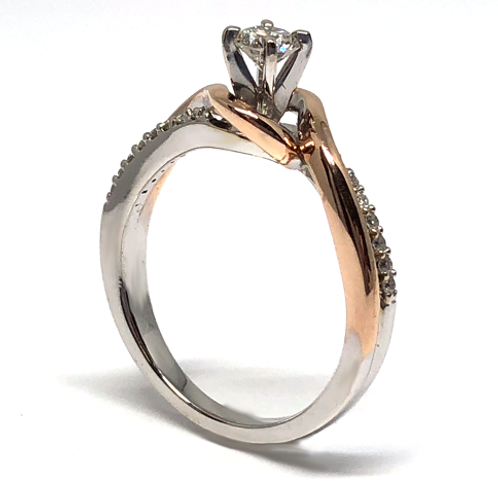 14K white and rose gold bypass style engagement ring with accent diamonds. Two tone engagement ring. White and rose gold ring