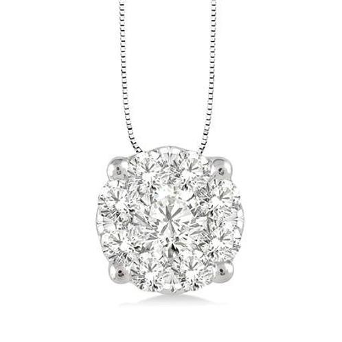 WOW! Diamond Pendant. Diamond necklace. Solitaire diamond necklace. Cluster diamond pendant.