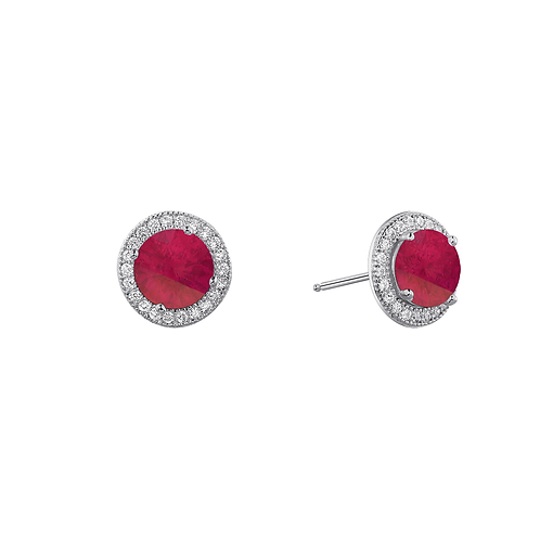 Platinum plated sterling silver earrings with simulated ruby and simulated diamond halo. Ruby halo stud earrings. Simulated.