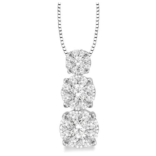 14K white gold and diamond three stone pendant. WOW diamond three stone pendant. Past present and future pendant. Thee stone.
