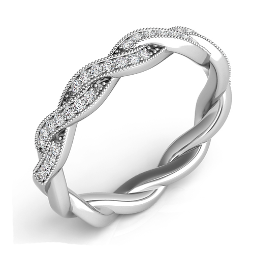 14K white gold twisted band with diamonds. Twisted diamond ring. Diamond anniversary band. Diamond wedding band. Stackable.