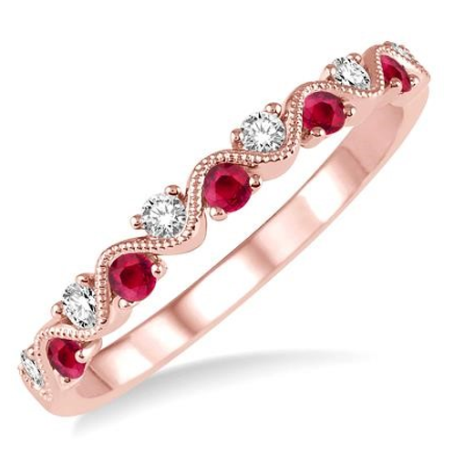 Rose gold band with rubies and diamonds. Ruby diamond and rose gold stackable ring. Anniversary band. Wedding band. Rose gold