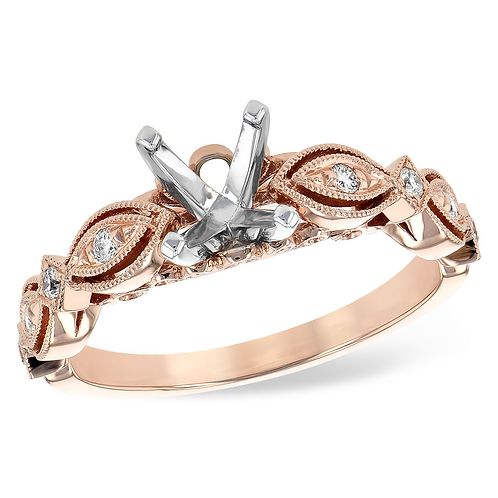 14K Rose gold diamond engagement ring with vintage inspired marquise shaped settings. Diamond accented engagement ring.