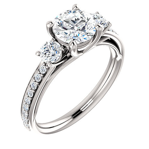 14K white gold diamond engagement ring with three stones. 3-stone ring. Three-stone ring. Past present and future ring. Gold