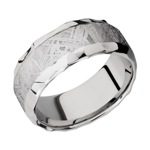 Mens Cobalt Chrome Wedding Band With Gibeon Meteorite Inlay And Rock Polish Finish