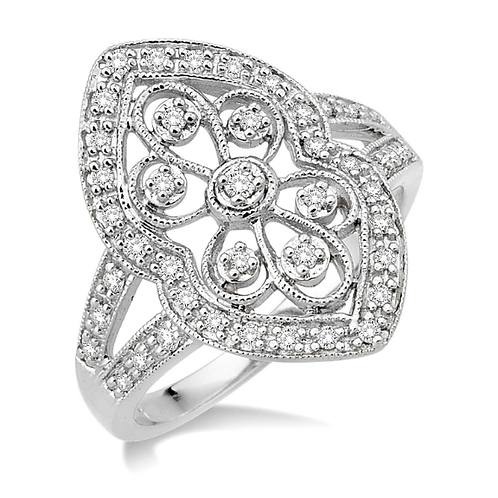 Vintage inspired shield ring. White gold diamond shield ring. White gold right hand ring. White gold cocktail ring.