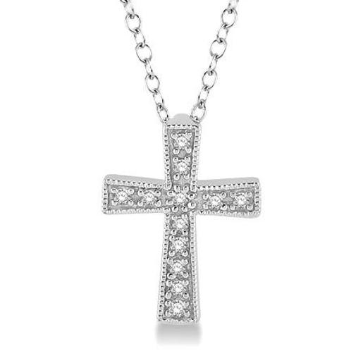 Sterling silver cross pendant. Diamond cross pendant. Petite cross pendant. Petite diamond cross pendant.