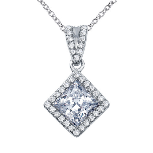Sterling silver and 159cttw simulated diamond halo pendant sterling silver pendant with platinum plating with princess cut simulated diamond and simulated diamond halo aloadofball Gallery