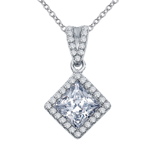 Sterling silver pendant with platinum plating with princess cut simulated diamond and simulated diamond halo. Halo pendant.