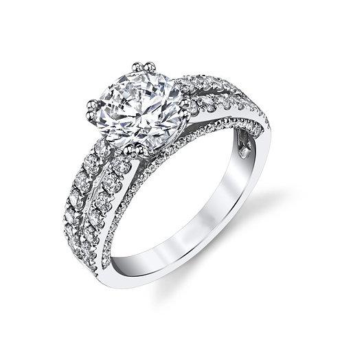 14K white gold diamond engagement ring. Split band diamond ring. Engagement ring. White gold ring. Diamond ring. Diamonds.