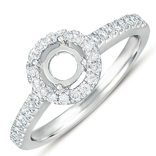 14K white gold diamond halo engagement ring. White gold diamond ring. White gold engagement ring. Diamond engagement ring.