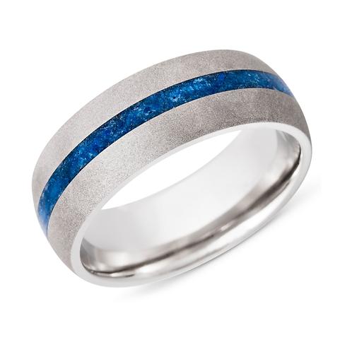Cobalt chrome men's band with blue line. Blue lapis lazuli. Thin blue line. Police ring. Matte finish. Satin finish. Stone.