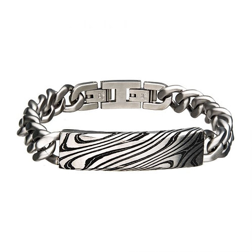 Men's stainless steel chain link bracelet with damascus steel accent. Black plated damascus steel. Damascus steel bracelet.