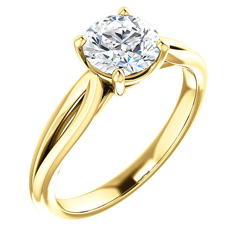 14K yellow gold solitaire engagement ring with split band. Split engagement ring. Yellow gold engagement ring. Diamond ring.