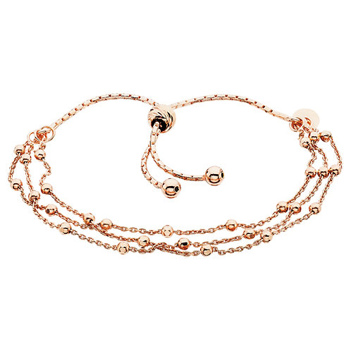 Rose Gold Plated Sterling Silver Beaded Adjustable Bolo Bracelet