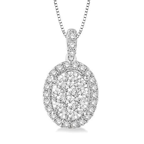 14K white gold oval halo pendant. WOW! Diamond oval halo pendant. Halo necklace. White gold oval necklace. Oval diamond.