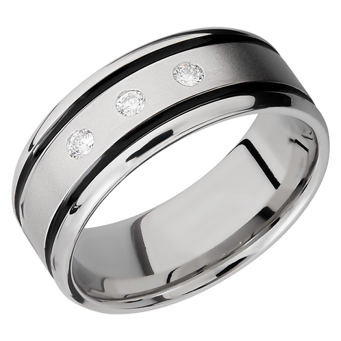 Men's wedding ring in cobalt chrome with bead blast beadblast finish and flush set diamonds. Men's diamond wedding ring. Band