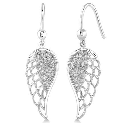 Sterling silver and diamond angel wing earrings. Diamond earrings. Sterling silver earrings. Angel wing earrings.