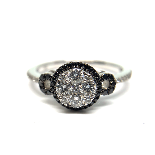 White gold ring with white and black diamonds. Black diamond halo. White diamond accents. White diamond cluster. Diamonds.