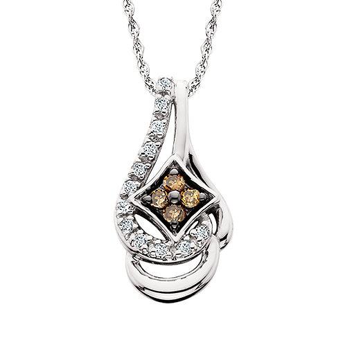 10K white gold and diamond pendant with champagne diamonds and white diamonds. Cradled diamond pendant. Diamond necklace.