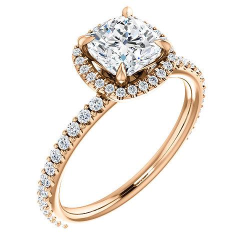 14K rose gold diamond engagement ring. Rose gold engagement ring with diamond accented band and diamond collar. Diamond halo.
