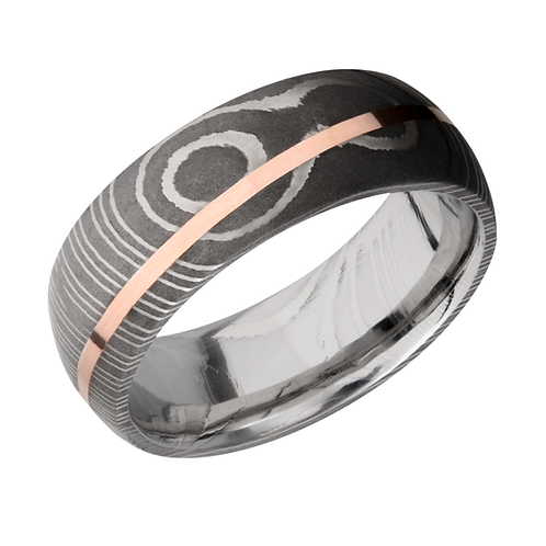 Men's Damascus steel wedding band with rose gold angled inlay and acid washed finish. Men's wedding ring. Men's band. Steel.