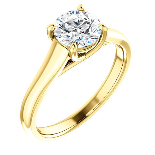 Yellow gold diamond engagement ring. Cathedral style solitaire engagement ring. Round diamond engagement ring in yellow gold.