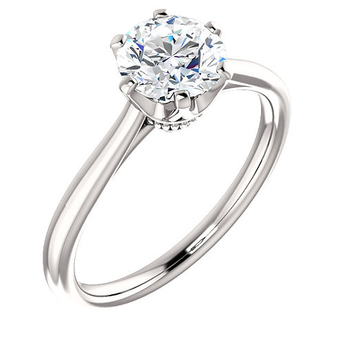14K white gold diamond engagement ring. Crown inspired engagement ring. White gold crown solitaire engagement ring. Cathedral