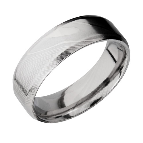 Mens Polished Damascus Steel Wedding Ring with Beveled Edges