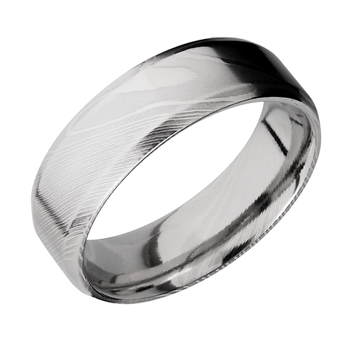 Men's polished Damascus steel ring with beveled edges. Polished men's ring. Gentleman's ring. Black ring. Black men's ring.