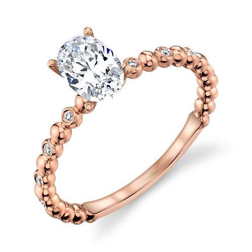 14K rose gold burnish bezel set diamond beaded engagement ring. Stackable engagement ring. Slim beaded engagement ring. Rose
