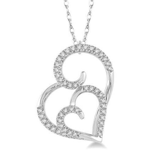 Double heart pendant. White gold diamond heart necklace. Pave diamond heart necklace. Two heart pendant.