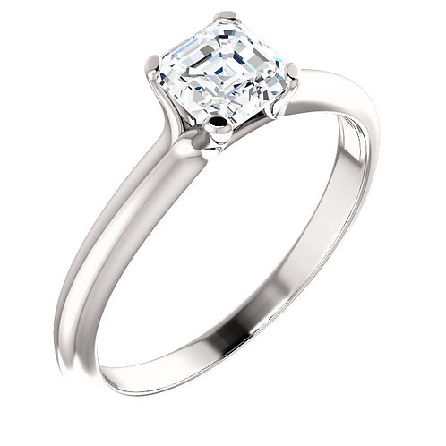 14K white gold diamond engagement ring. Diamond ring with asscher cut center stone. Square diamond engagement ring. Solitaire