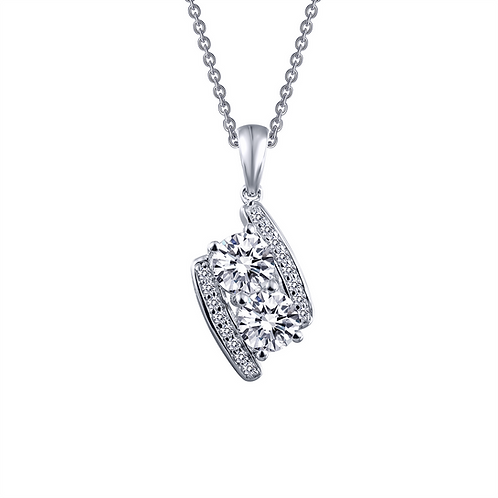 Platinum plated sterling silver pendant with simulated diamonds. Two stone pendant. Accented two stone pendant. Forever stone