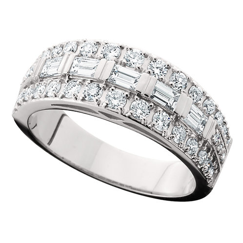 14K white gold anniversary band with baguette diamonds. Round diamonds. Diamond anniversary ring. Baguette diamond ring.
