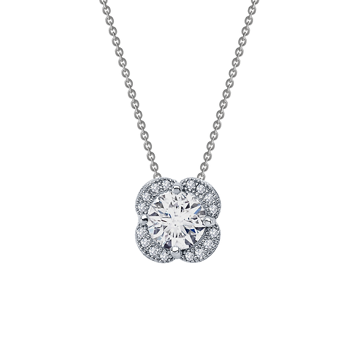 Platinum plated sterling silver pendant with simulated diamond surrounded by simulated diamond petals in halo arrangement.