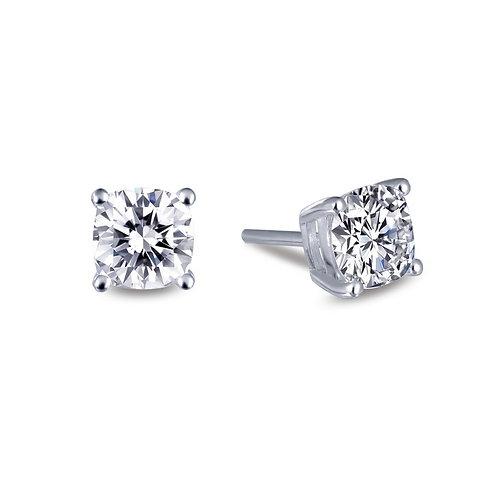 Cushion shaped simulated diamond stud earrings. Studs. Stud earrings. Sterling silver. Platinum plated. CZ earrings. Studs.