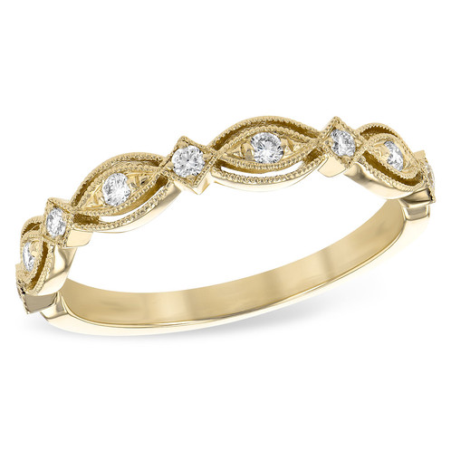 14K Gold and 15cttw Vintage Inspired Diamond Wedding or Stackable