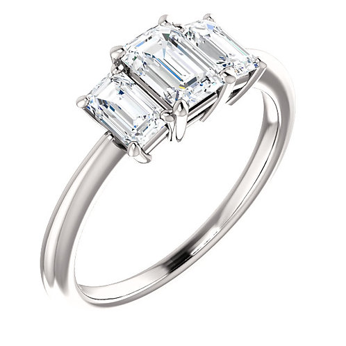 14K white gold diamond engagement ring with emerald cut accent diamonds. Three stone engagement ring. Three emerald cut ring.