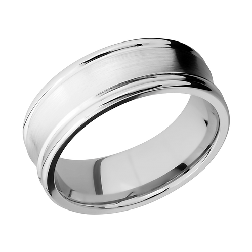 Cobalt chrome men's ring with concave profile and satin finish. Rounded edges. Men's rounded cobalt chrome wedding band. Men