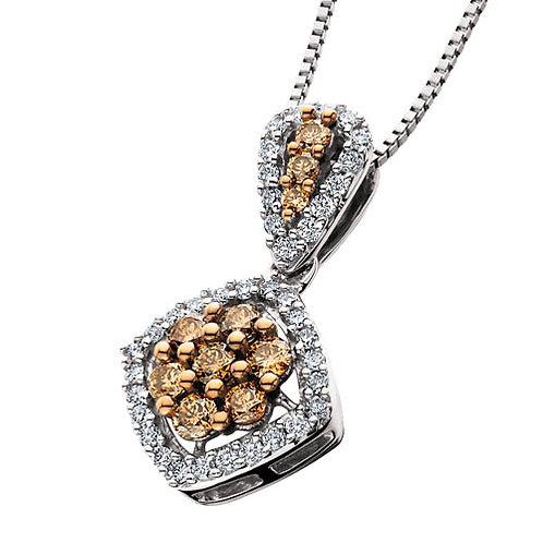 14K white gold diamond pendant with champagne diamond center and champagne diamond bail. Chocolate diamonds. Brown diamonds.